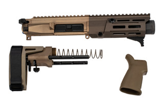 Maxim Defense PDX 5.56 AR Pistol Kit comes in flat dark earth with the SCW arm brace