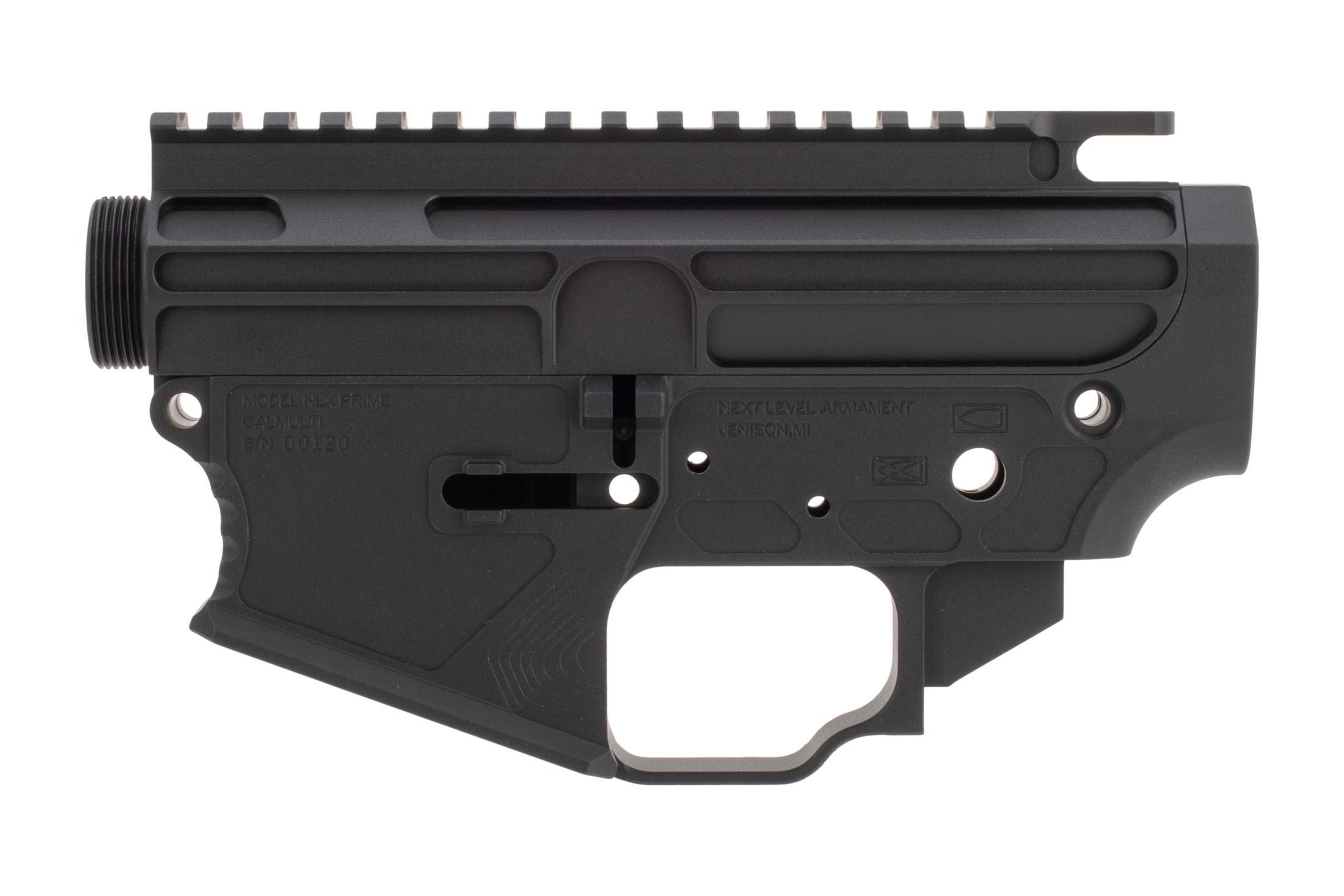 The Next Level Armament NLX15 Billet AR15 stripped receiver set features an enlarged integral trigger guard