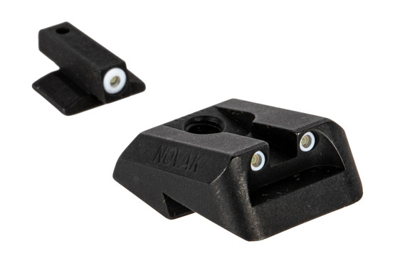 Night Fision Perfect Dot night sight set with square notch, white front and white rear ring for Novak-cut 1911s.
