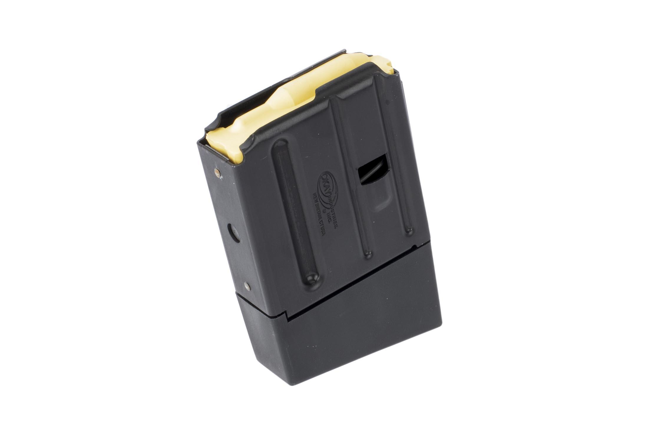 Okay Industries SureFeed AR-15 magazine holds 10 rounds of 5.56 NATO or 300 Blackout with an extended base plate and slick black finish