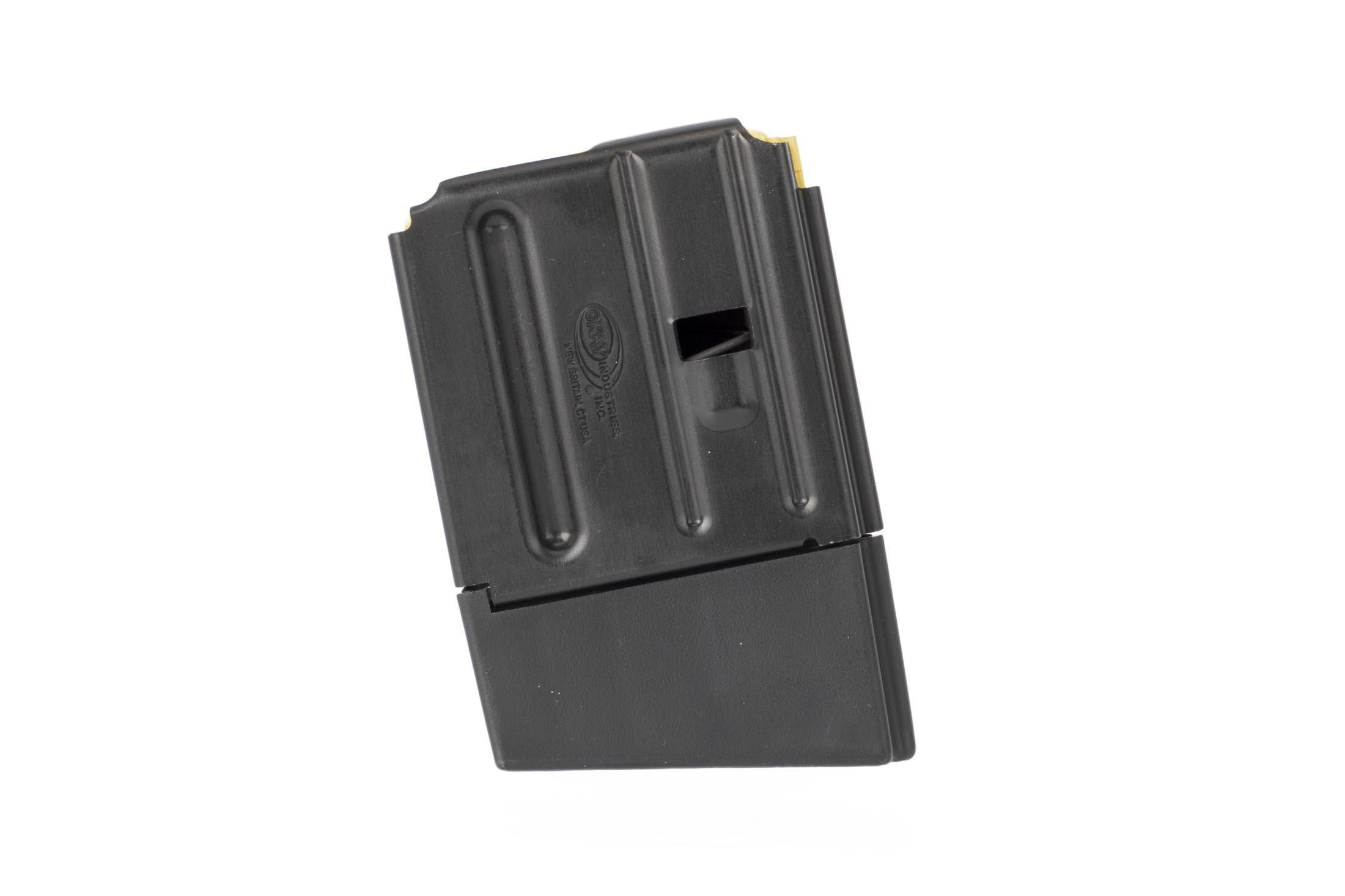 Okay Industries lightweight aluminum SureFreed 5.56 magazine holds 10 rounds of ammo and features a durable black finish