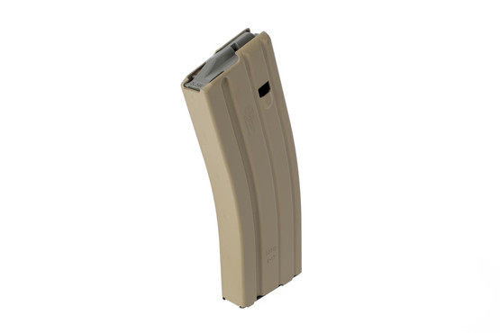 Okay Industries SureFeed AR-15 magazine holds 30 rounds of 5.56 NATO or 300 Blackout with an extended base plate and slick Flat Dark Earth finish