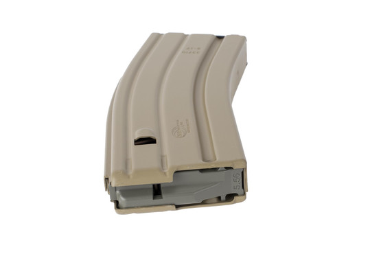 OKAY Industries Surefeed Flat Dark Earth finish aluminum STANAG pattern 30-round AR-15 magazine has a high-visibility anti-tilt follower