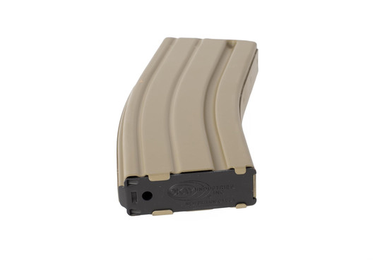 Okay Industries Flat Dark Earth 30-round SureFeed aluminum magazine features a properly stamped base plate