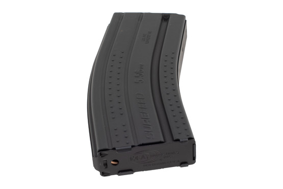 Okay Industries 30-round black Surefeed E2 textured AR-15 magazine has a stamped base plate for easy cleaning