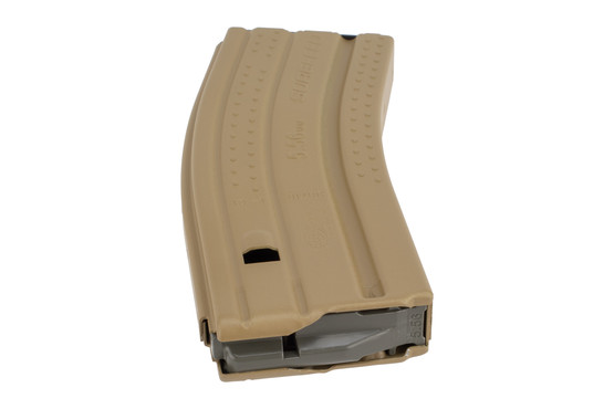 Okay Industries 30-round 5.56 NATO Surefeed E2 magazine with FDE finish features a high-contrast anti-tilt follower
