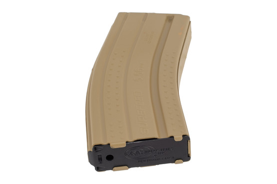 Okay Industries 30-round flat dark earth Surefeed E2 textured AR-15 magazine has a stamped base plate for easy cleaning