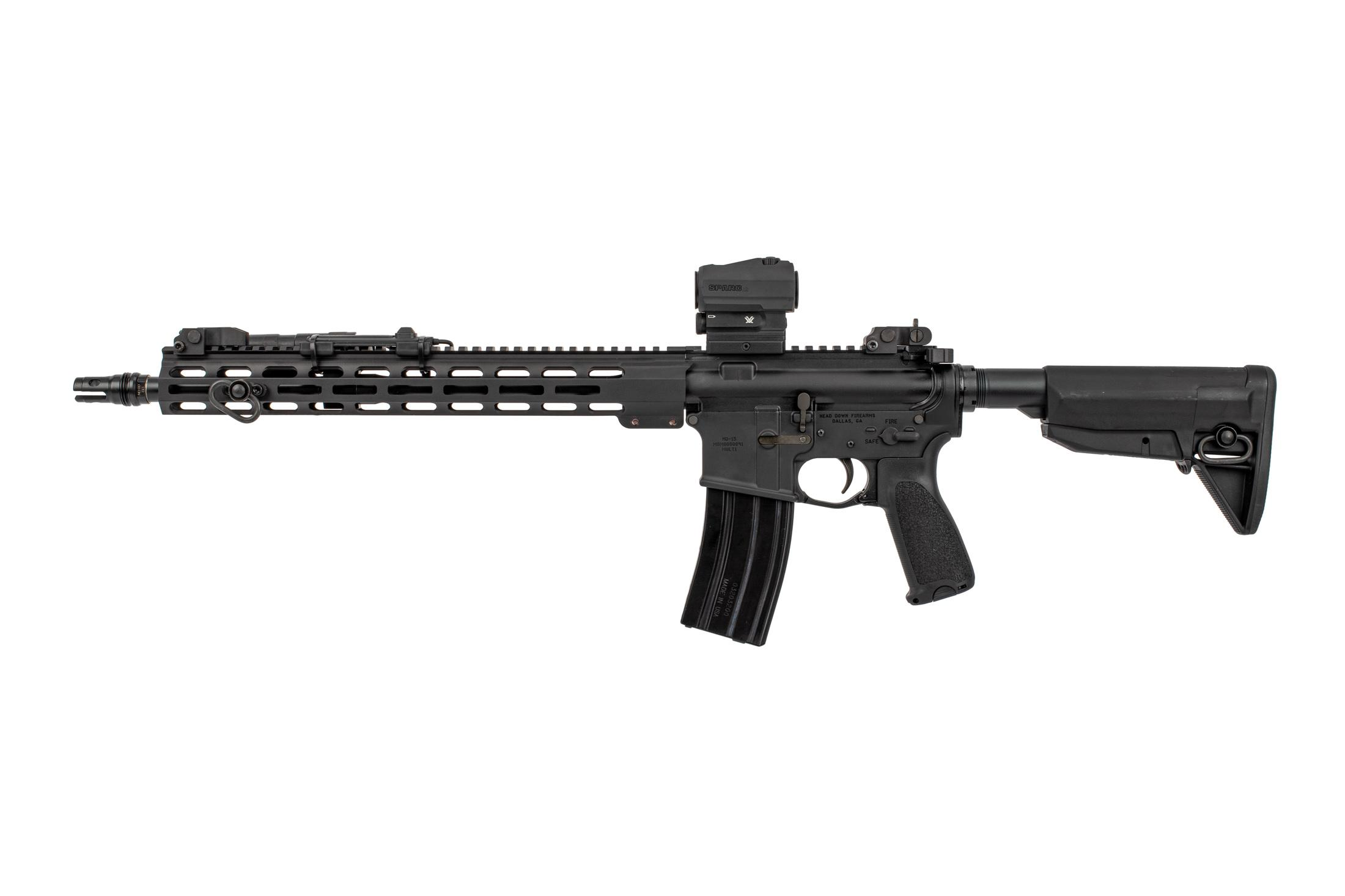 Head Down Firearms OTG Complete AR15 rifle features a QD suppressor mount flash hider