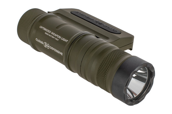 The Cloud Defensive OWL Weapon Light In OD Green features an integrated mount and switch