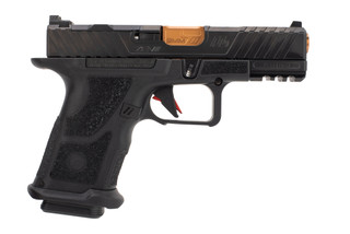 Zev Technologies OZ9c Hyper-Comp 9mm pistol features a ported barrel with a bronze finish
