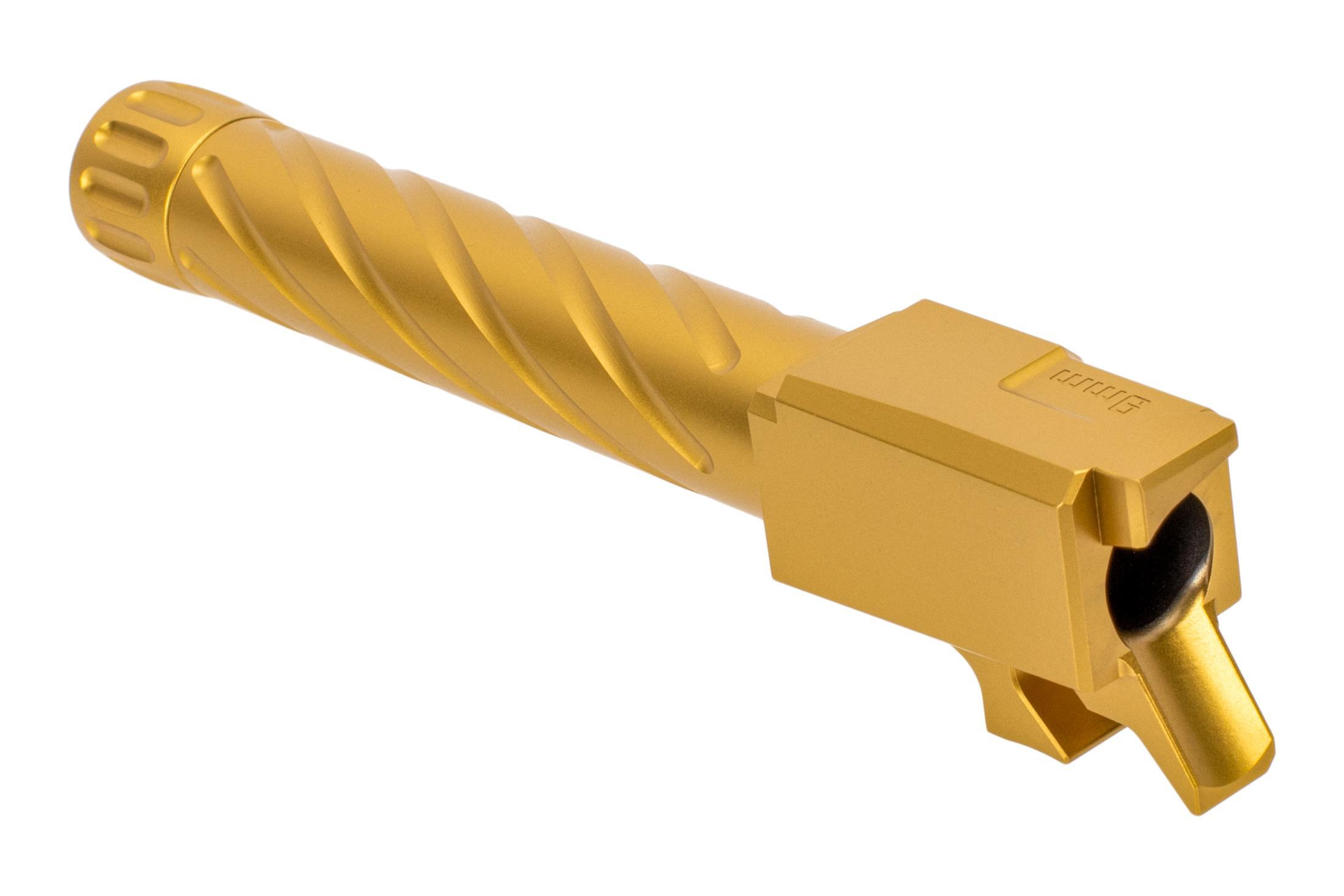 Primary Machine 9mm CZ P07 threaded and fluted barrel with Gold TiN finish and integral feed ramp