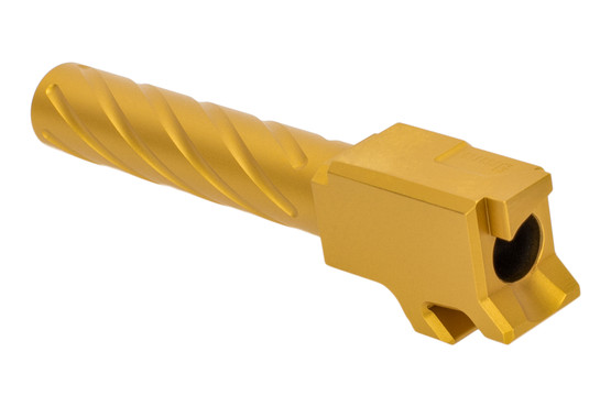 Primary Machine 9mm CZ P10C fluted barrel with Gold Titanium Nitride finish and integral feed ramp