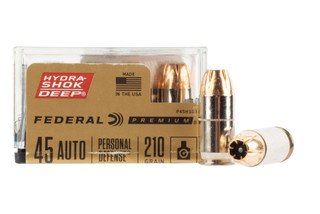 Federal Hydra-Shok Deep .45 ACP ammo features a jacketed hollow point design