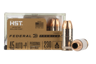 Federal 45 ACP HST hollow point ammo features nickel plated brass