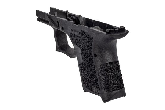 Polymer 80 sub compact black frame features an aggressive grip texture