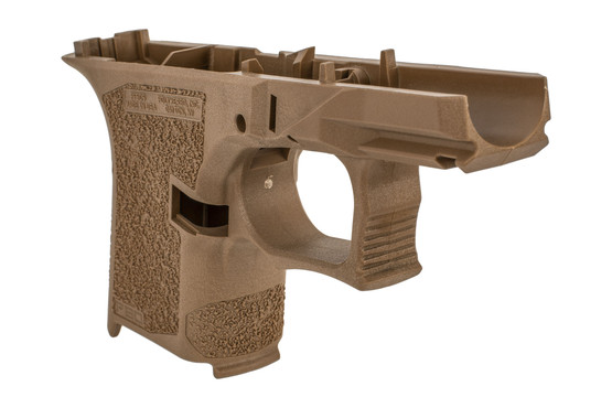 Polymer 80 FDE subcompact frame features an aggressive grip texture