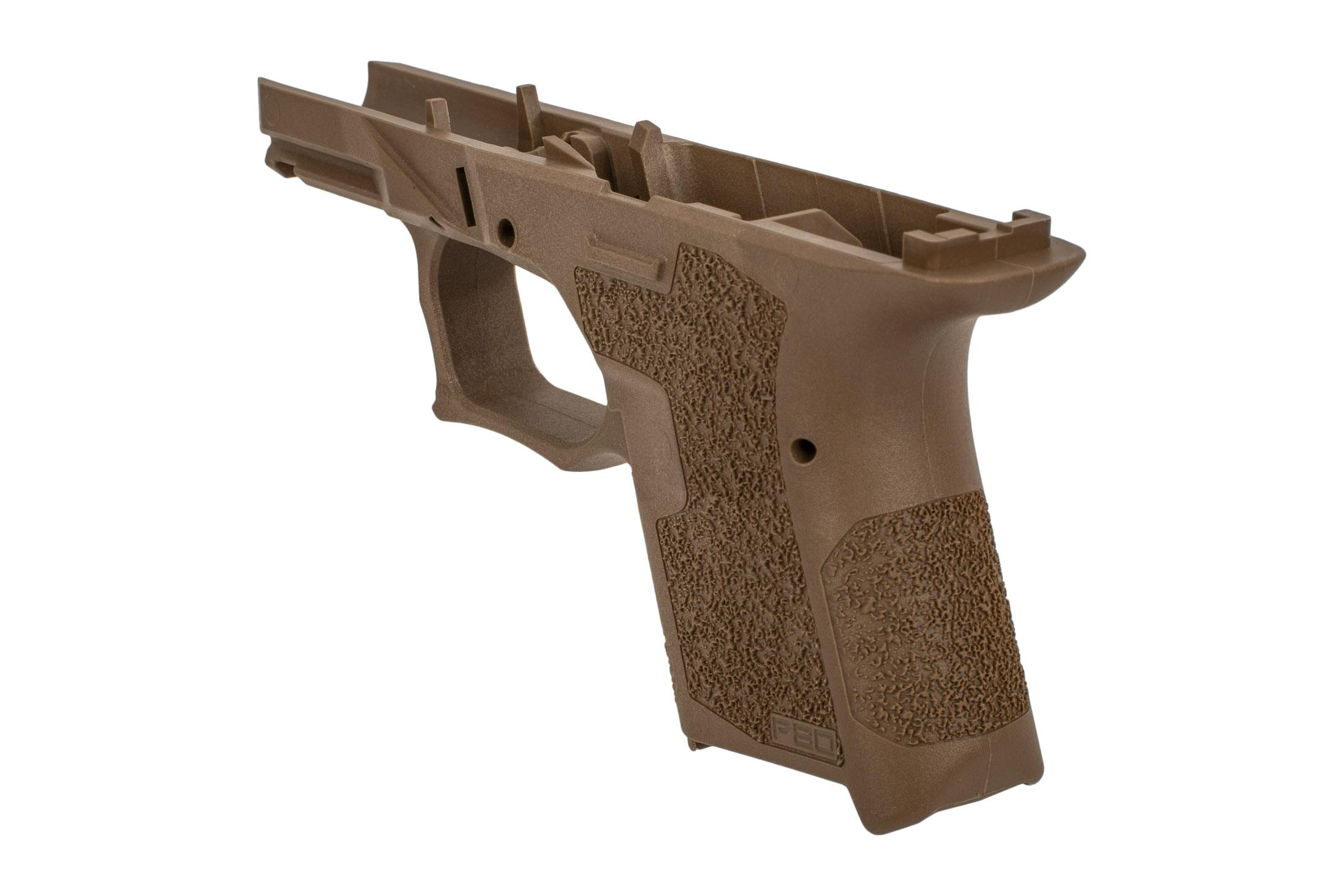 Polymer 80 sub compact serialized flat dark earth frame features a vertical grip angle