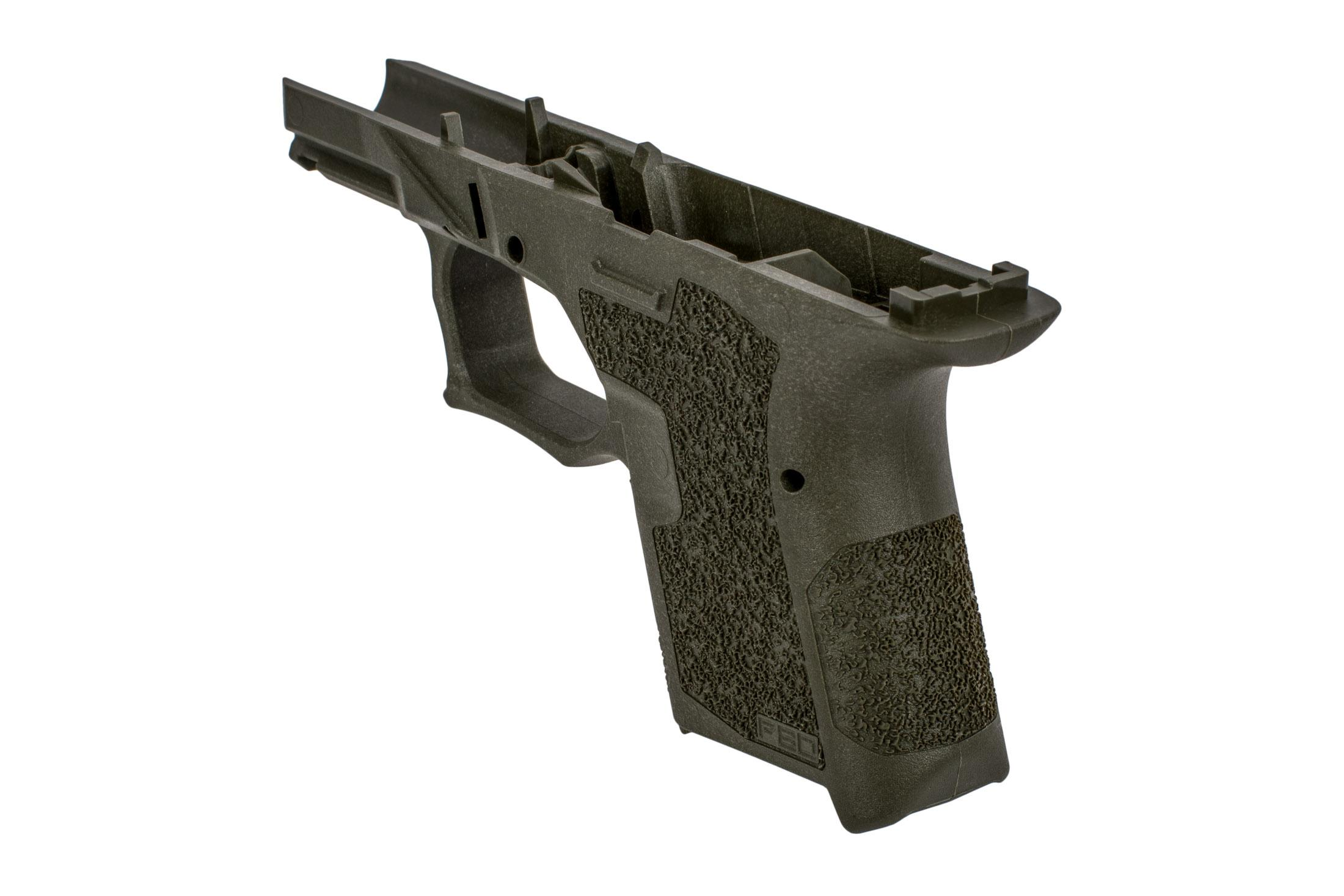 Polymer 80 subcompact serialized frame olive drab green features a vertical grip angle