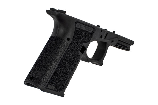 The Polymer 80 Glock 19 serialized frame features an aggressive grip texture