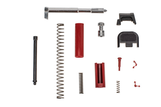 Polymer 80 Slide parts kit comes with black and red components