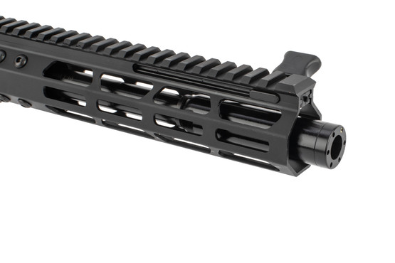 Foxtrot Mike Products AR9 complete upper features a blast diffuser muzzle brake