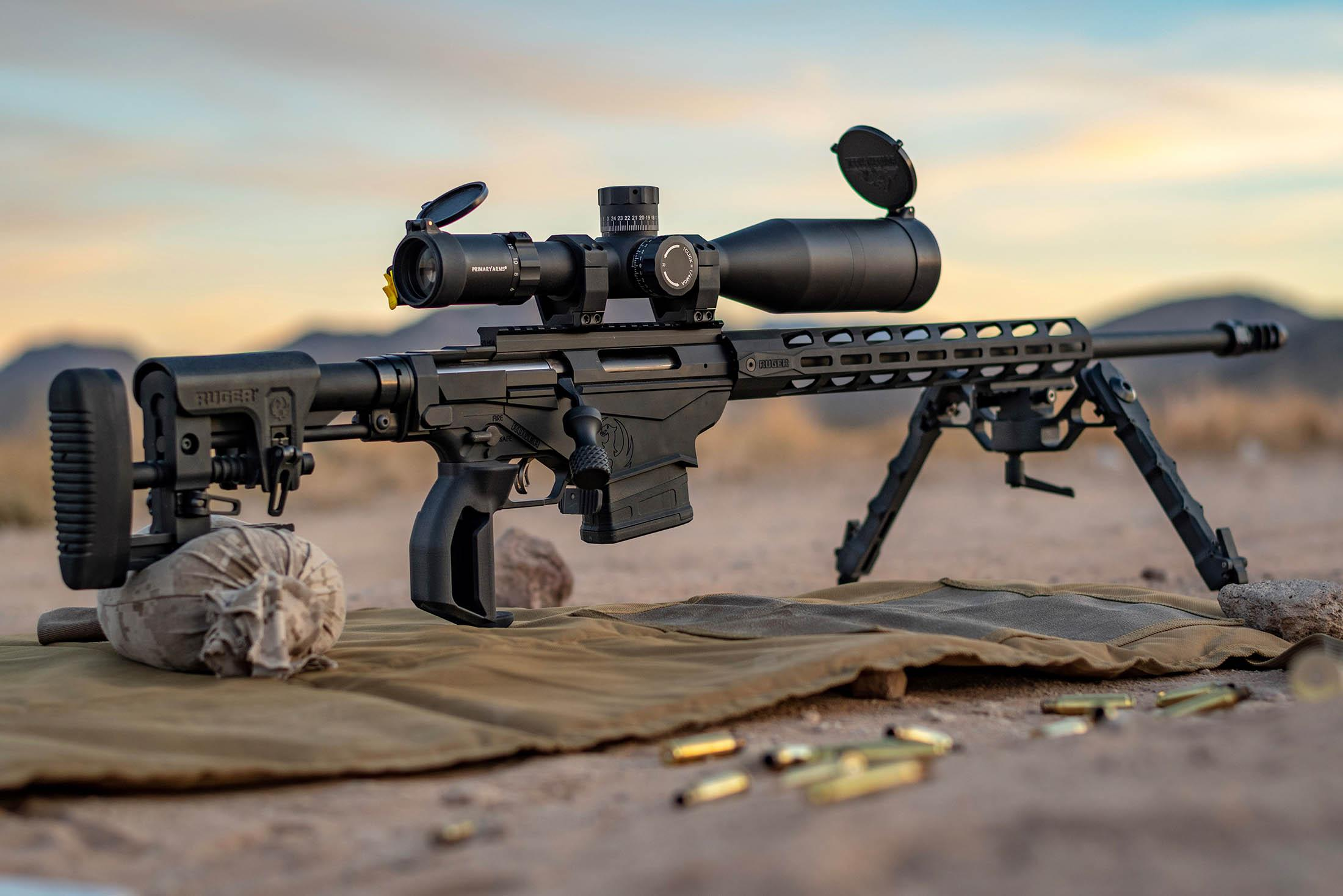 Primary Arms PLX5 6-30x56mm precision rifle scope with Athena BRP MOA reticle on a custom precision rifle