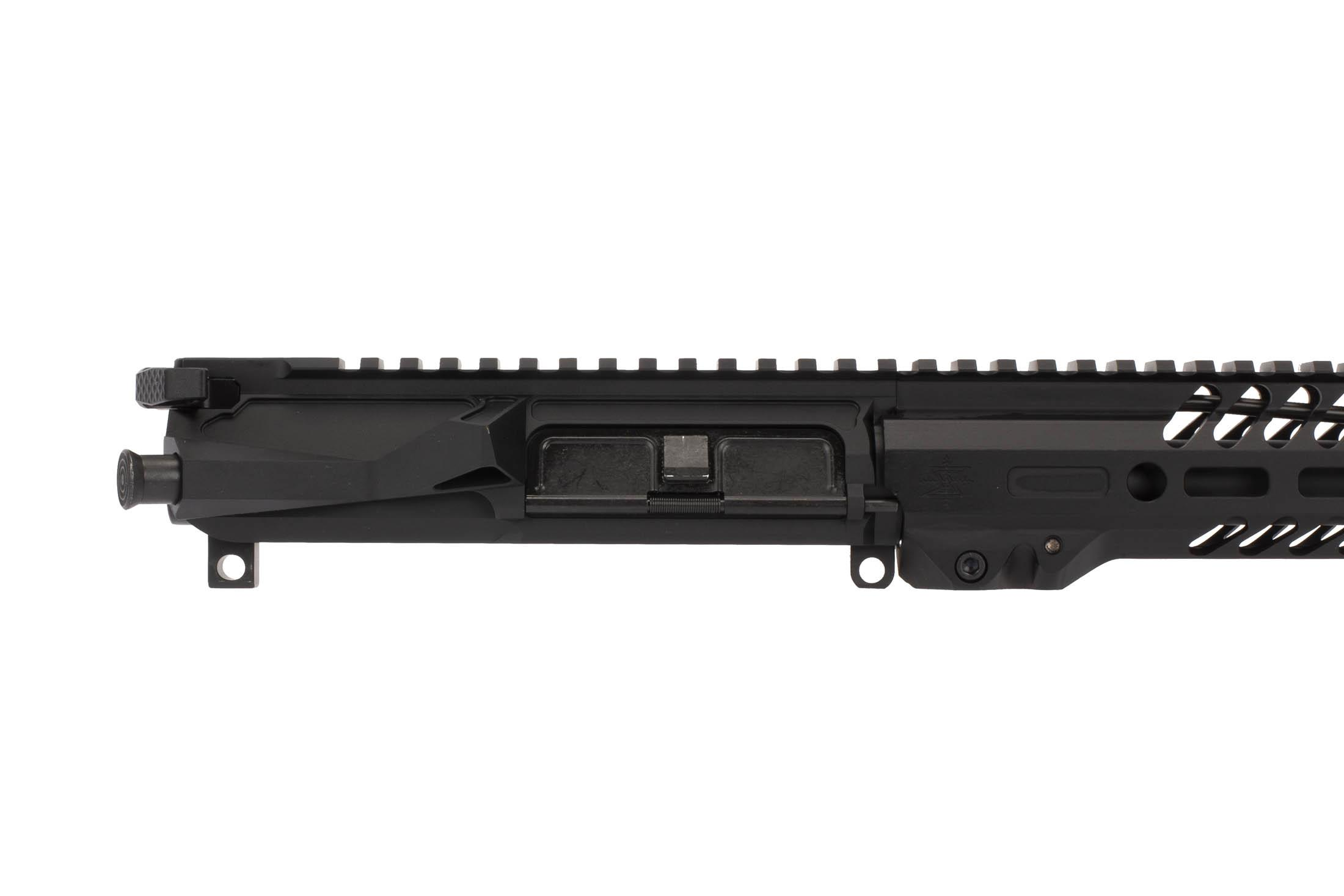 The Seekins Precision 14.5 NX14 .223 Wylde Complete Upper includes a pre-installed forward assist and ejection port cover