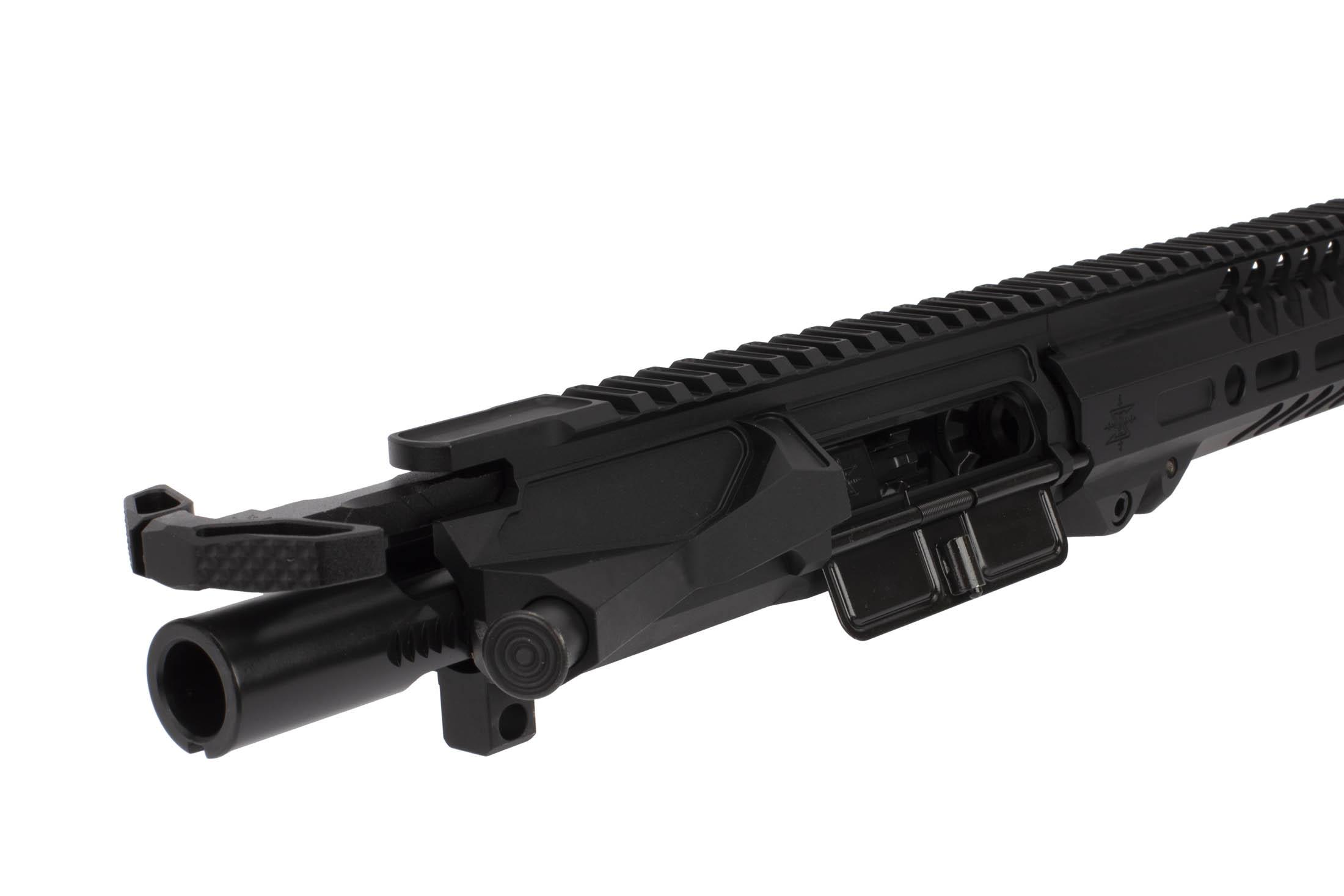 The Seekins Precision 14.5 NX14 Mid-Length Complete Upper includes an M16 cut bolt carrier group