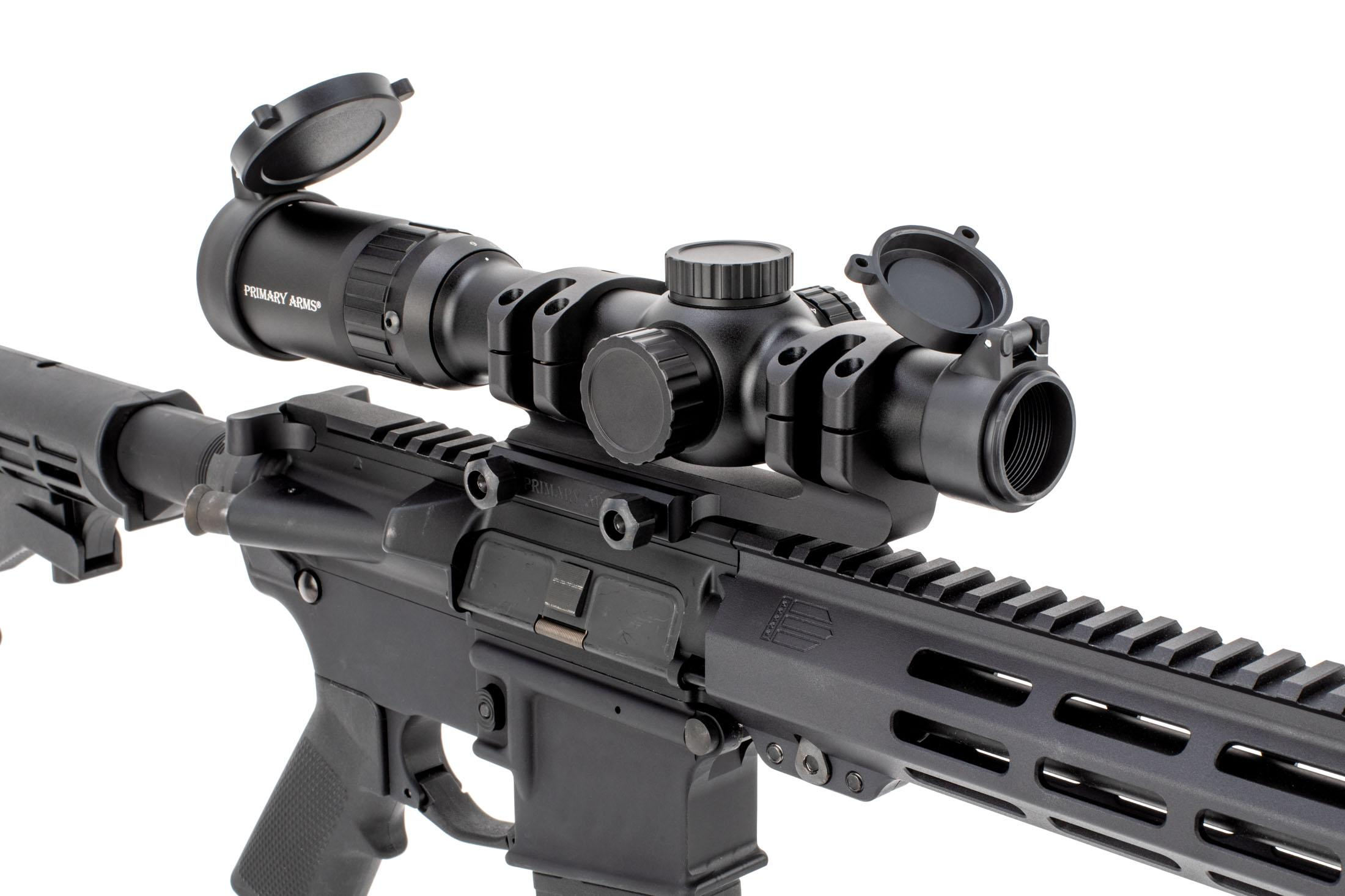 Primary Arms 1-6x24mm FFP ACSS Raptor 5.56 rifle scope includes flip up scope caps