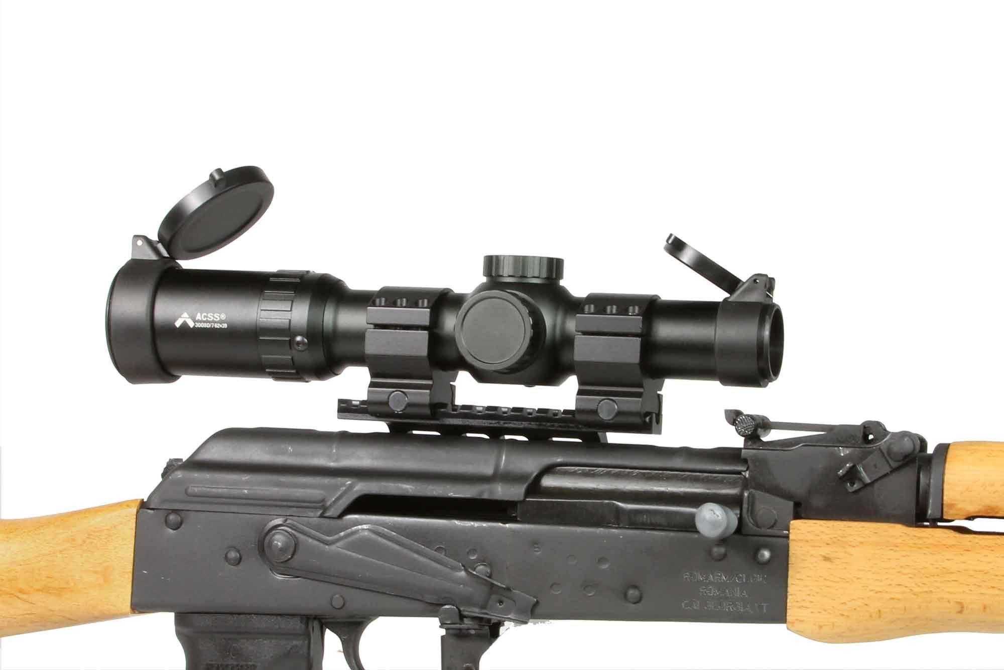 The Primary Arms 1-6x Second Focal Plane Scope features the ACSS reticle and is attached to an ak47 rifle