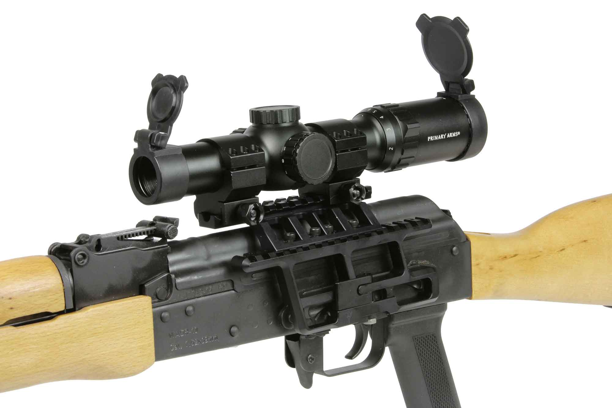 The Primary Arms 1-6x sfp riflescope attached to an ak-47 semi automatic rifle that shoots 7.62x39 ammo