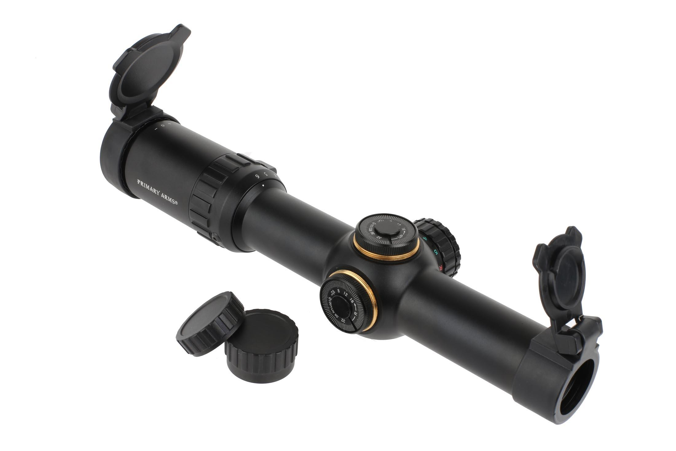 Primary Arms Gen III second focal plane 1-6x24mm riflescope has capped low-profile turrets for easy zeroing