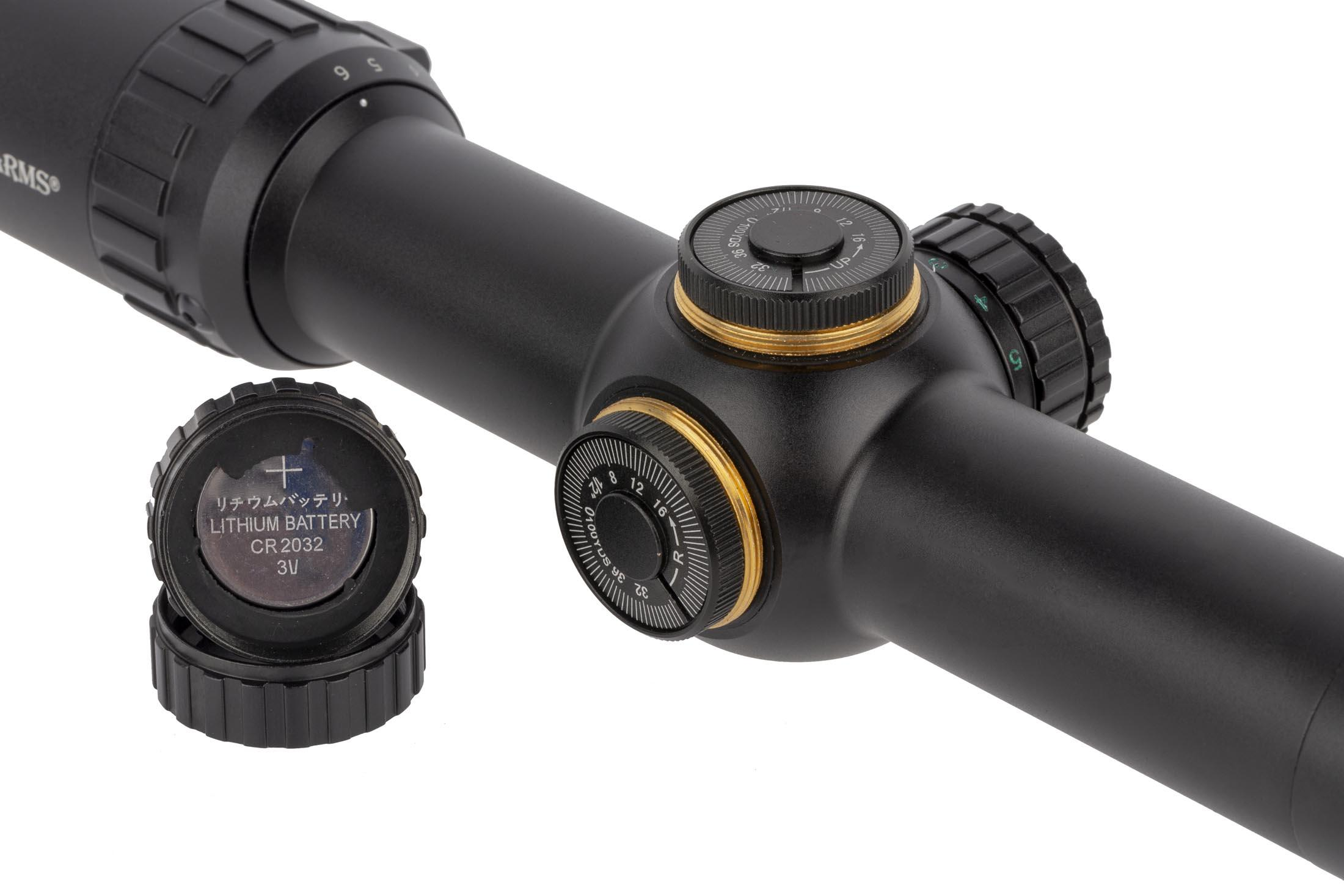Primary Arms 3rd Gen SFP 1-6x24mm rifle scope with ACSS Predator reticle features 1/2 MOA click adjust turrets and a spare battery