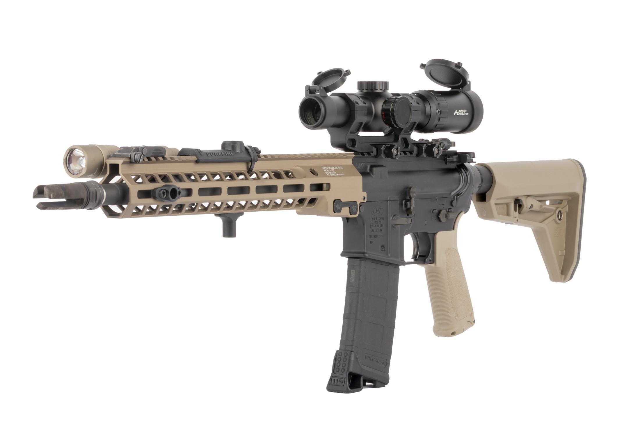 Primary Arms 1-6x rear focal plane rifle scope with ACSS Predator rifle scope mounted to an LMT AR-15 carbine