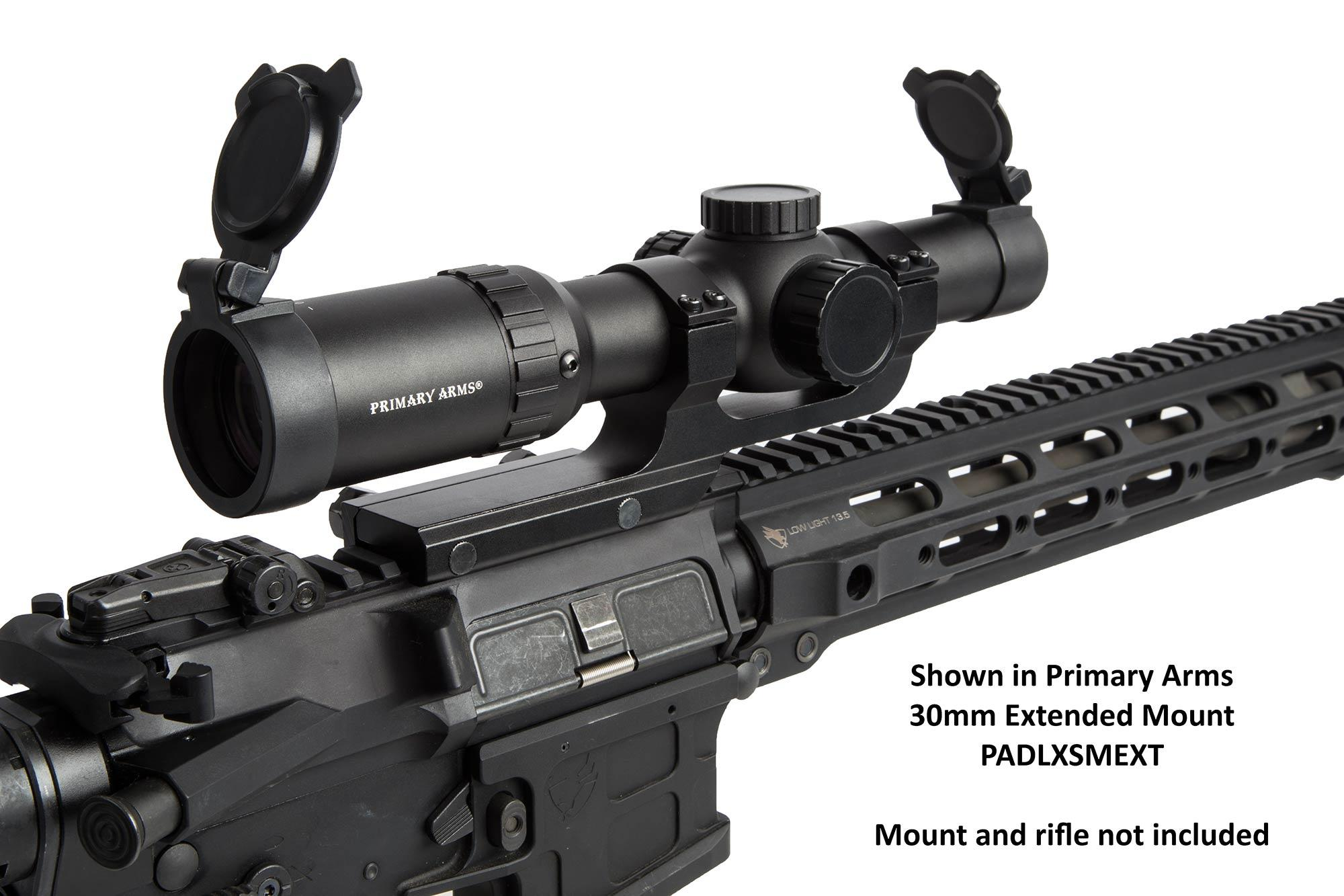The Primary Arms 1-8 ACSS reticle has windage and elevation compensation markings