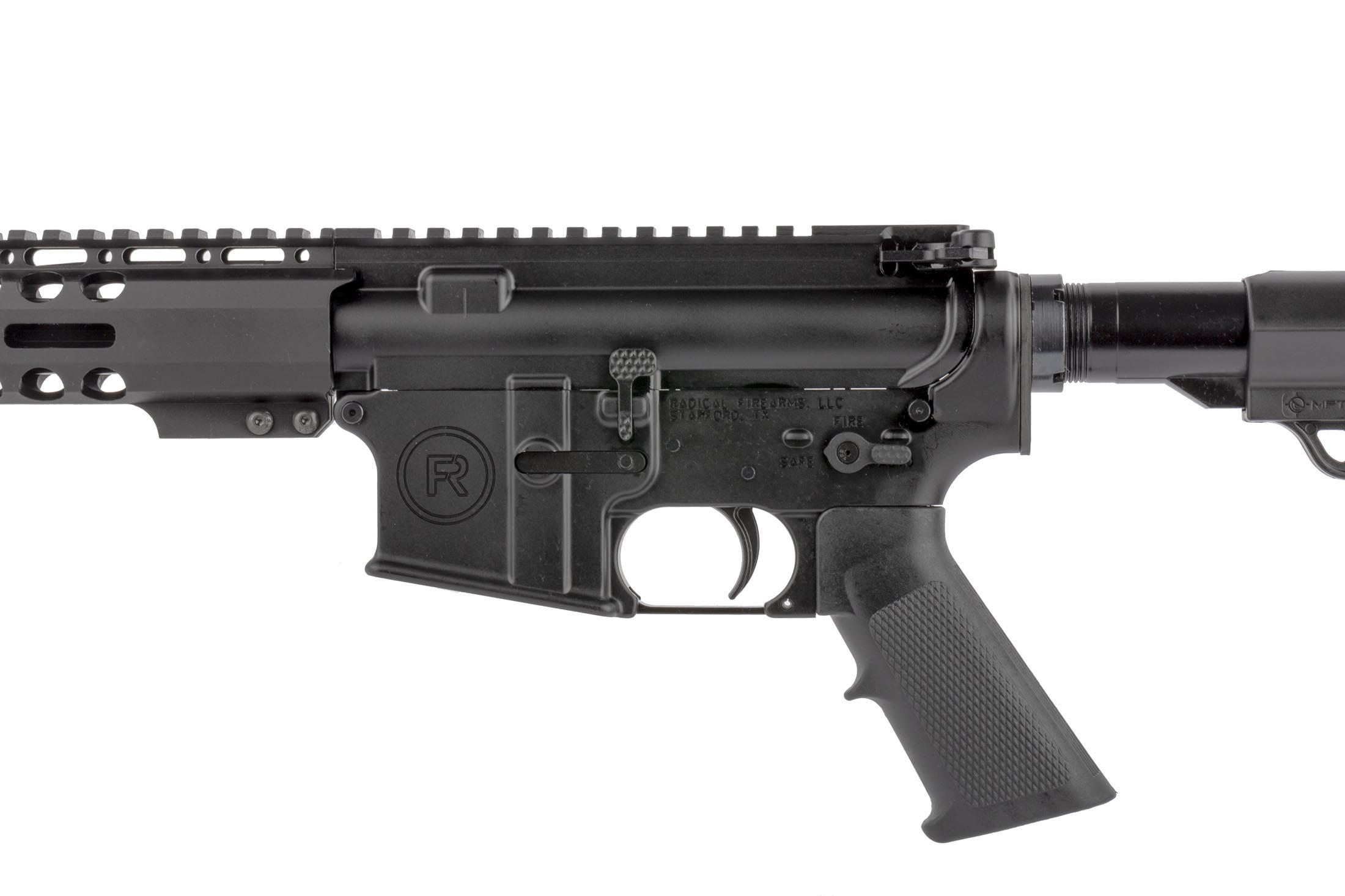 Radical Firearms 16in complete AR-15 rifle features an ambidextrous safety selector and enhanced bolt catch