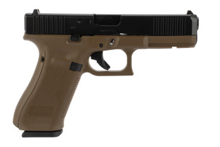 Glock 17 Gen 5 9mm pistol with a flat dark earth frame