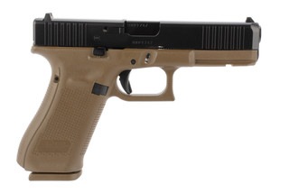 Glock 17 Gen 5 9mm handgun with a flat dark earth frame
