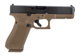Glock 17 MOS gen 5 9mm pistol features a flat dark earth frame