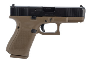 Glock 19 Gen5 MOS 9mm pistol in FDE has a front slide serrations