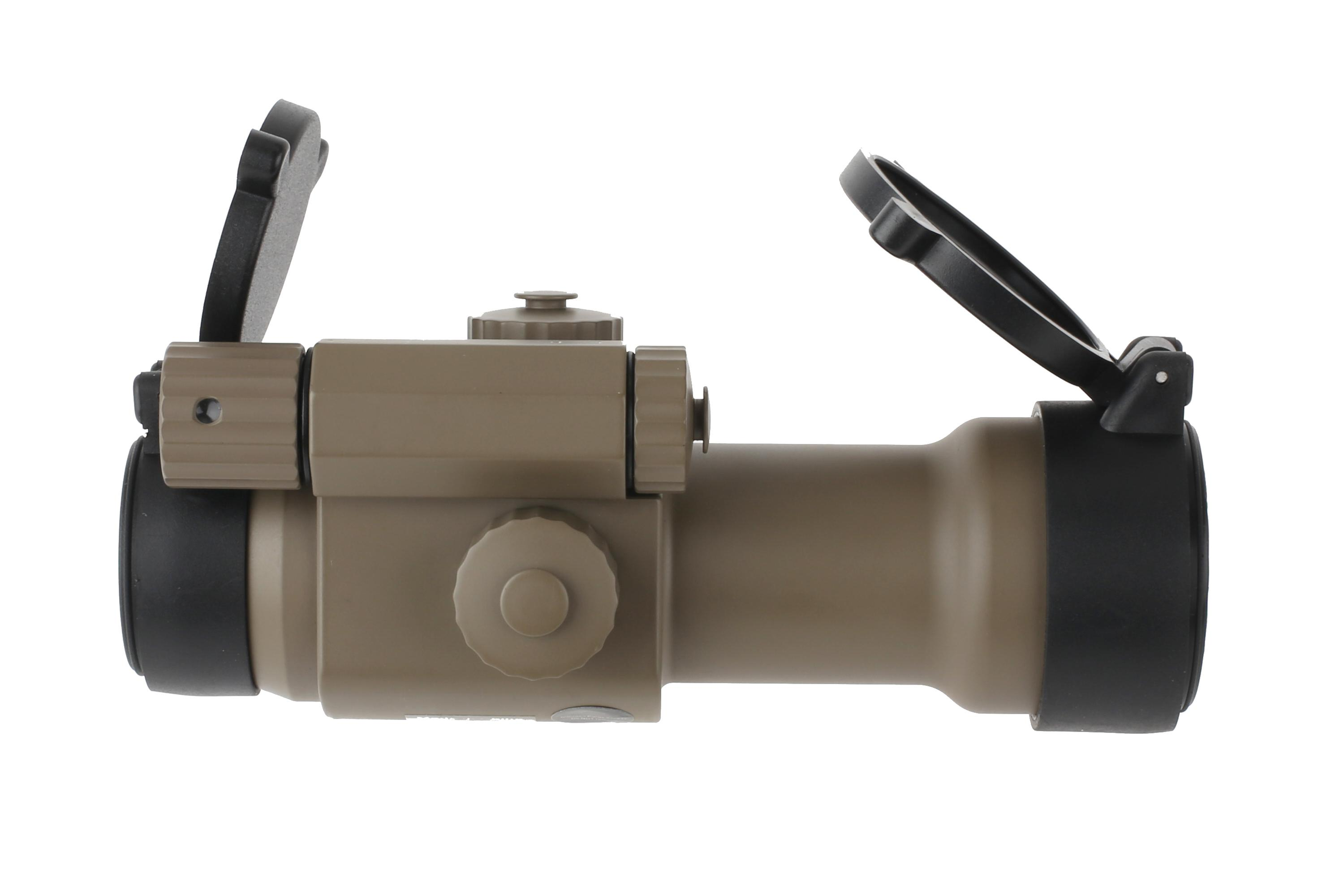 This red dot sight from primary arms comes with scope lens covers