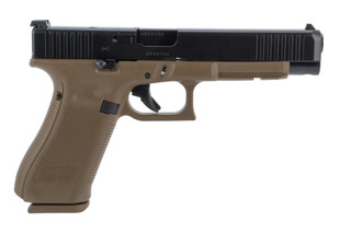 Glock 34 Gen 5 MOS 9mm pistol features a flat dark earth frame