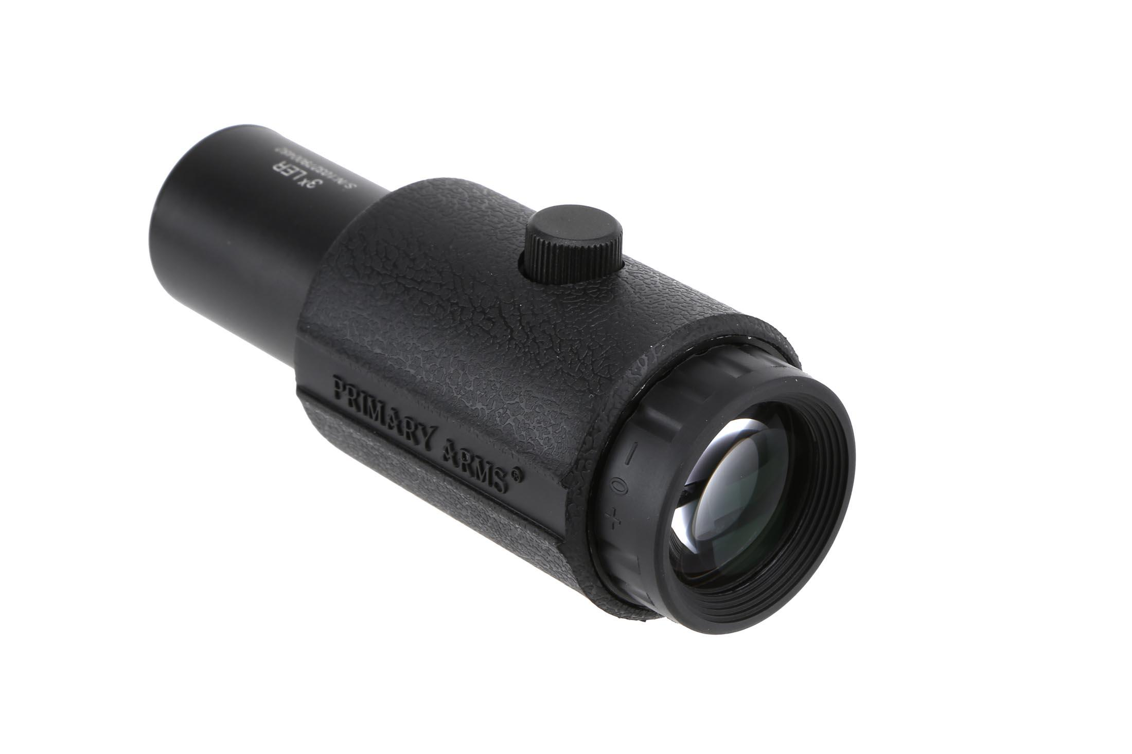 The Primary Arms 3X LER red dot magnifier features a rubber armor sleeve
