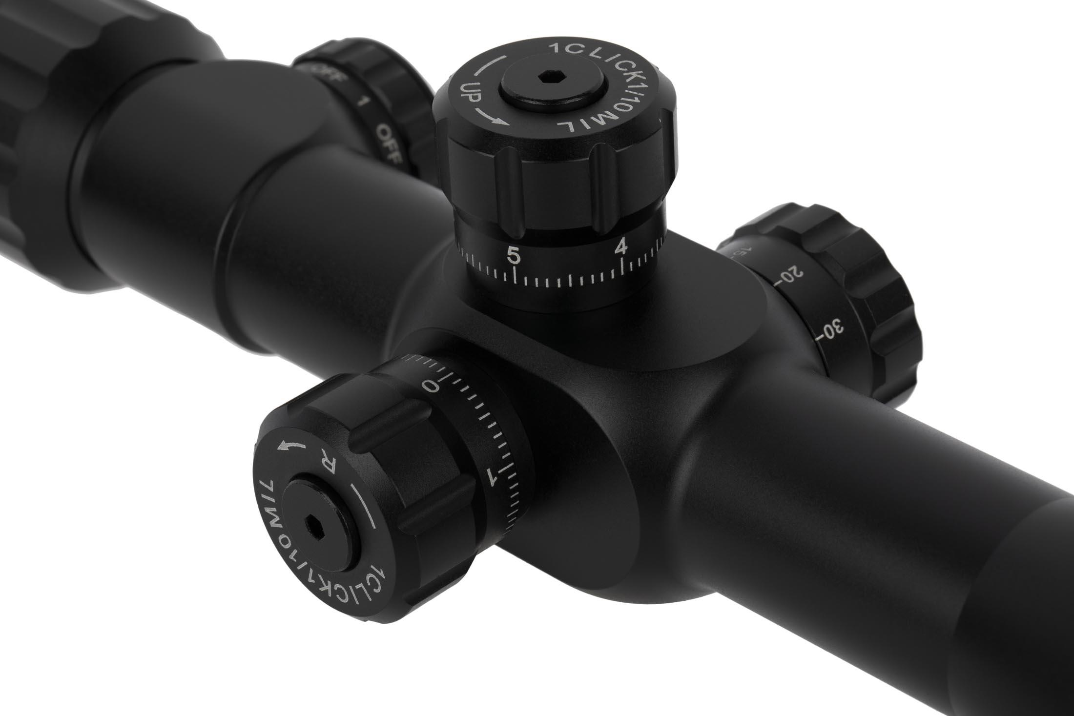 SLx3.5 4-14x44mm first focal plane rifle scope with R-Grid 2B reticle features precise, tactile, and audible 0.1 MIL click adjustments.