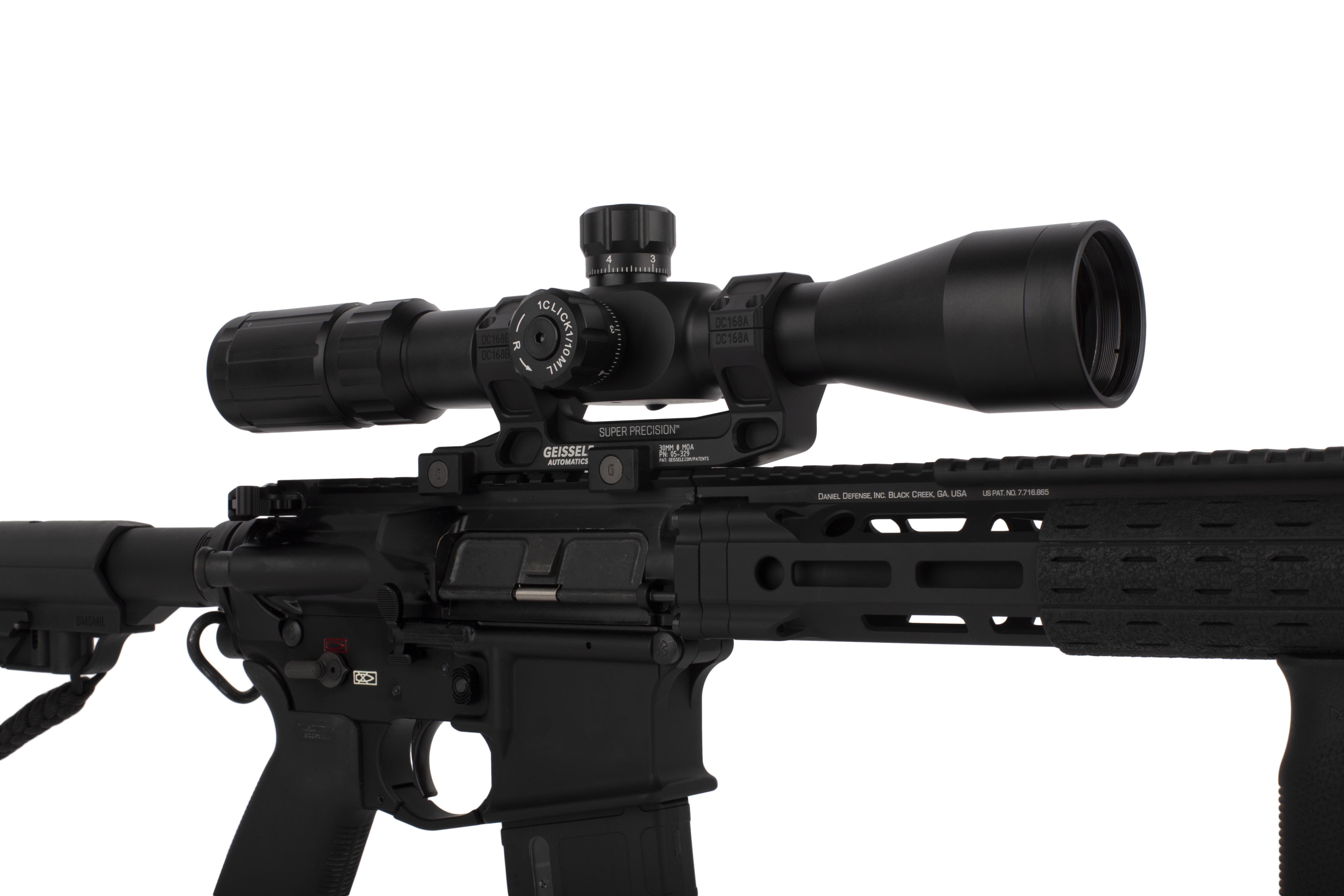 Primary Arms SLx3.5 4-14x44mm R-Grid 2B rifle scope shown mounted to an employee AR-15 build.
