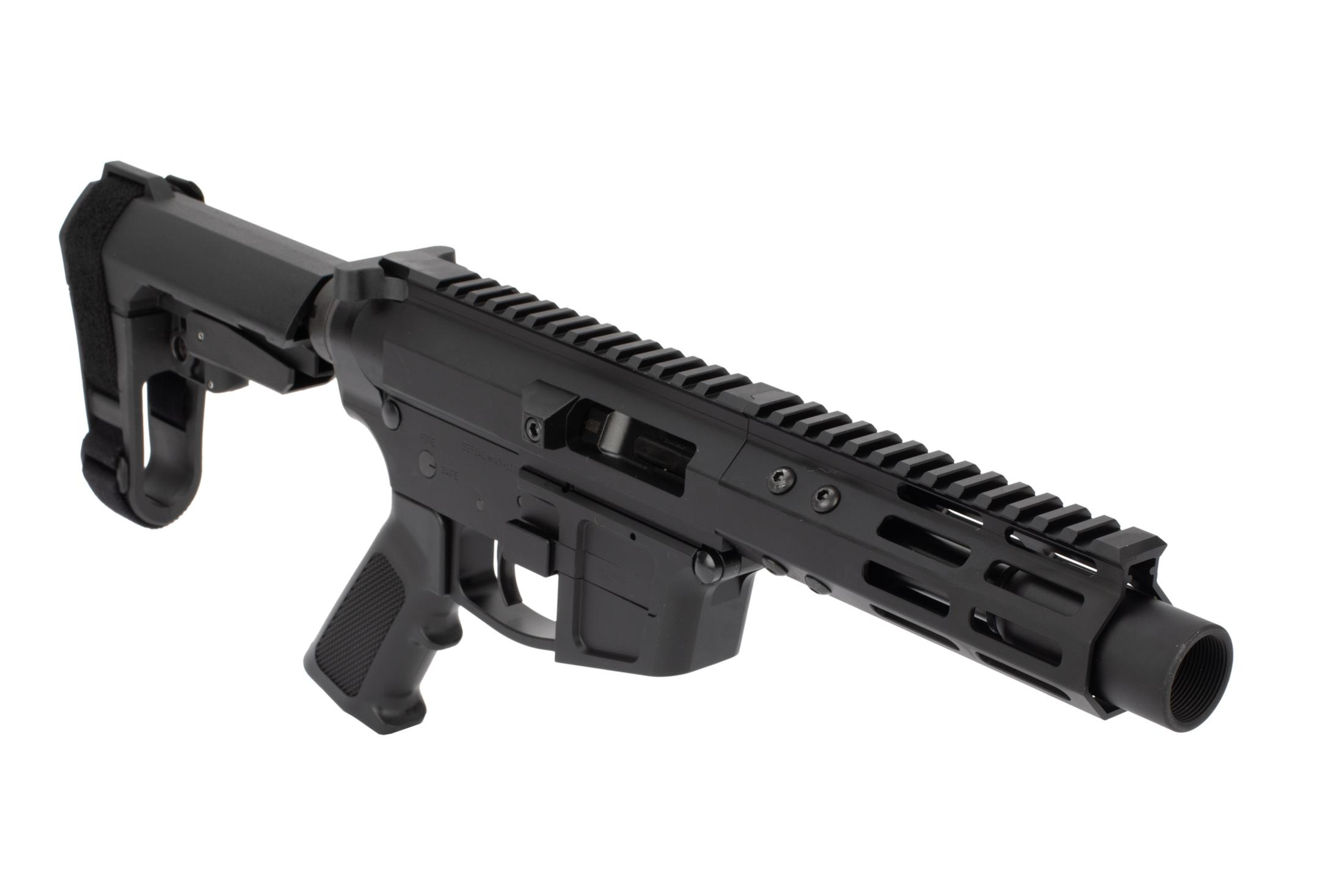 Foxtrot Mike Products PA exclusive Glock-style 5 ultra-light AR pistol chambered for .45 ACP with an SBA3 pistol arm brace