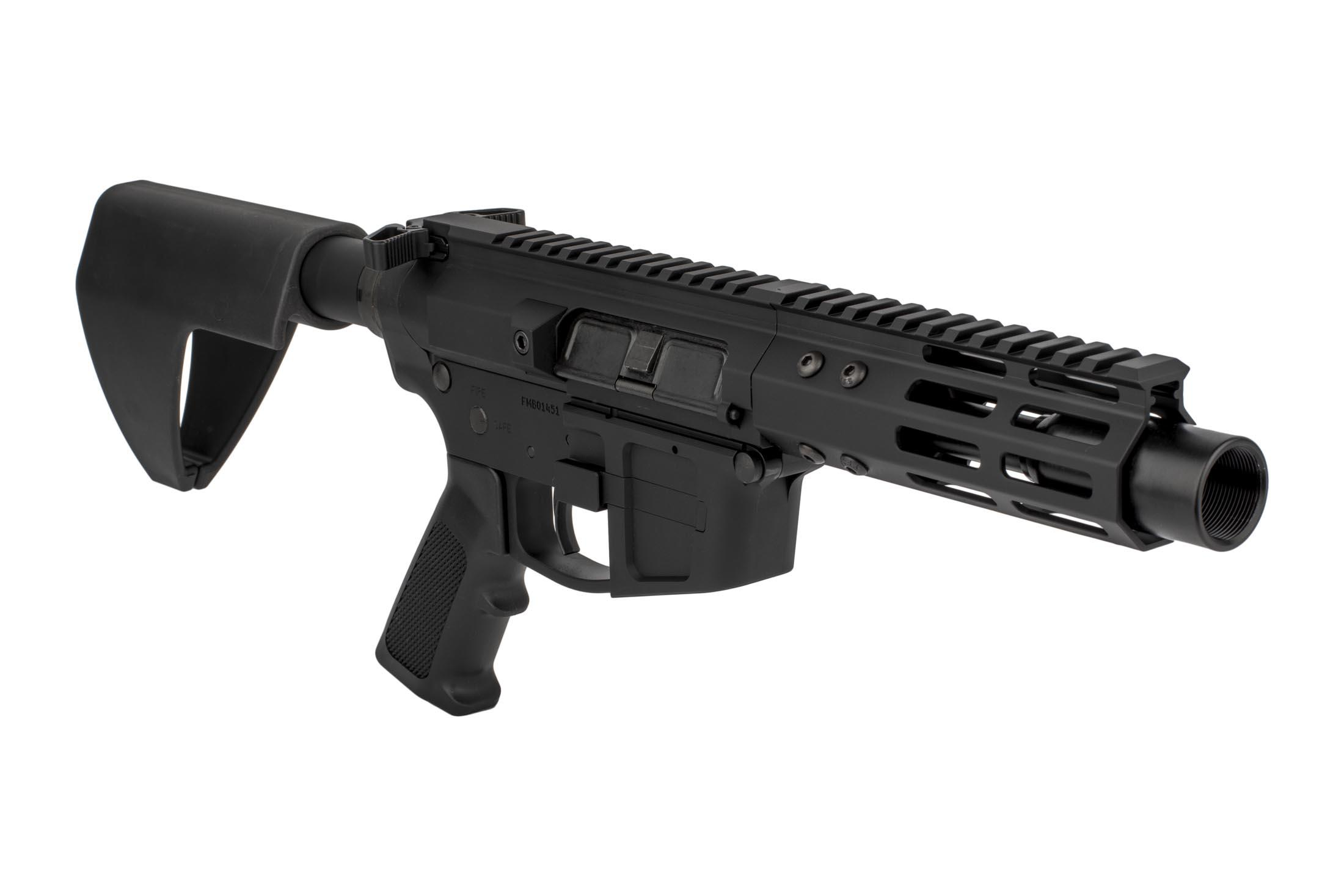 The FM Products FM9 AR9 pistol features a 5.5 inch M-LOK handguard