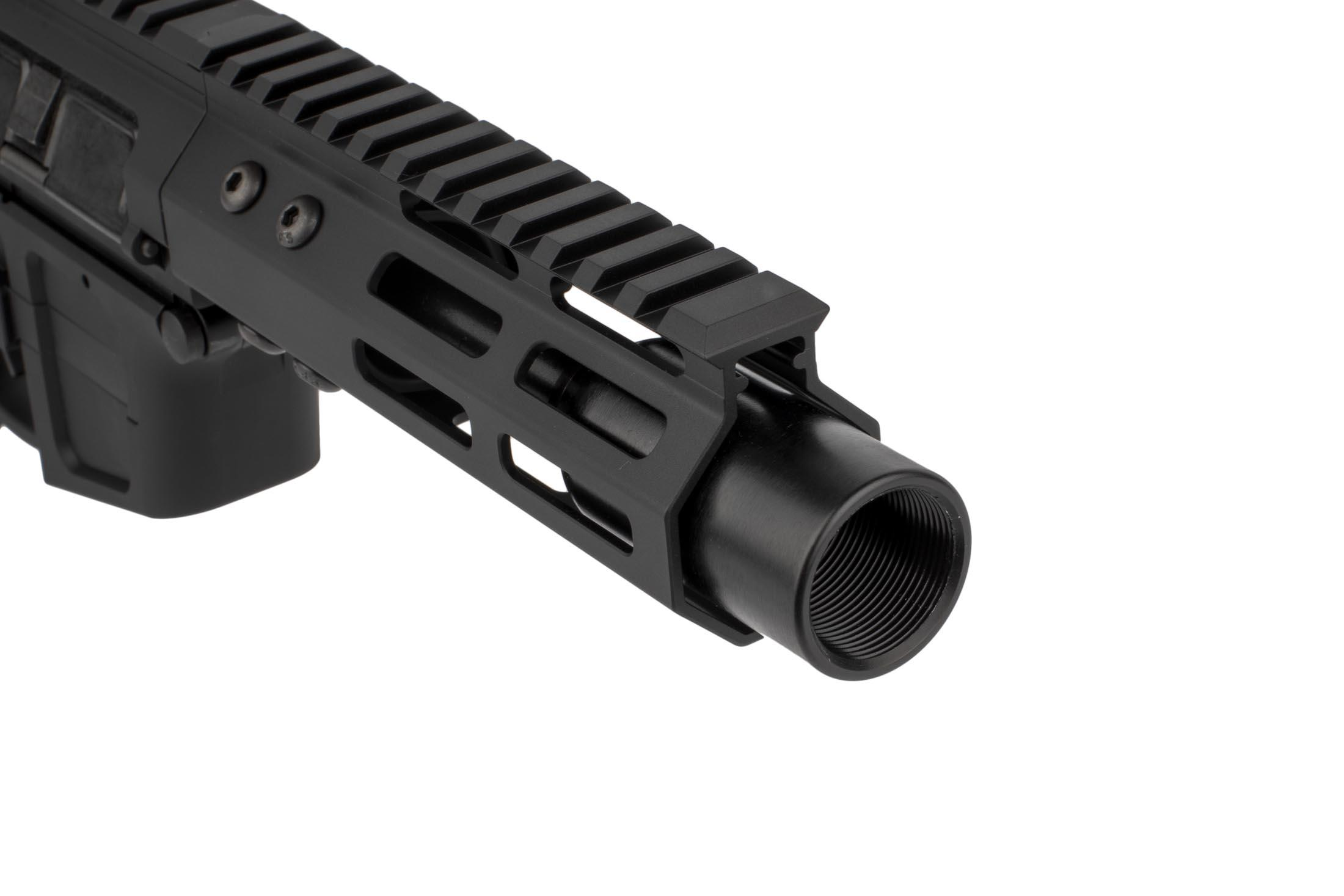 The Foxtrot Mike Products 9mm AR pistol features a blast diffuser muzzle device