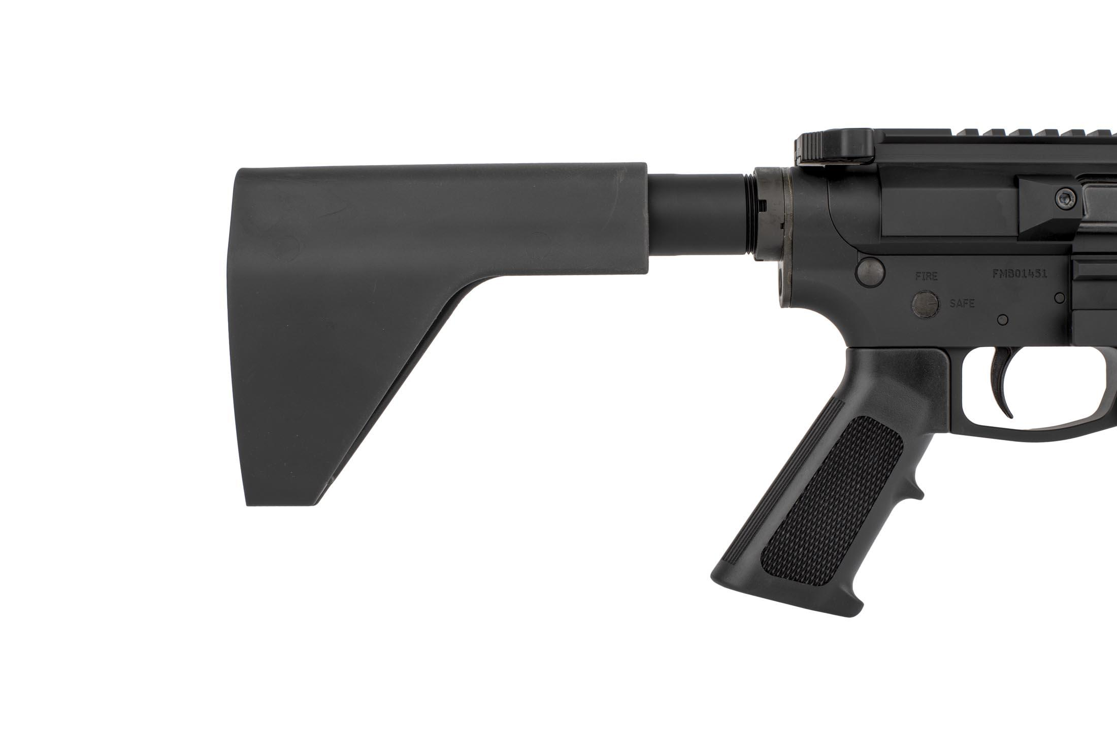 The FM Products 9mm AR pistol with arm brace features a pistol length buffer tube