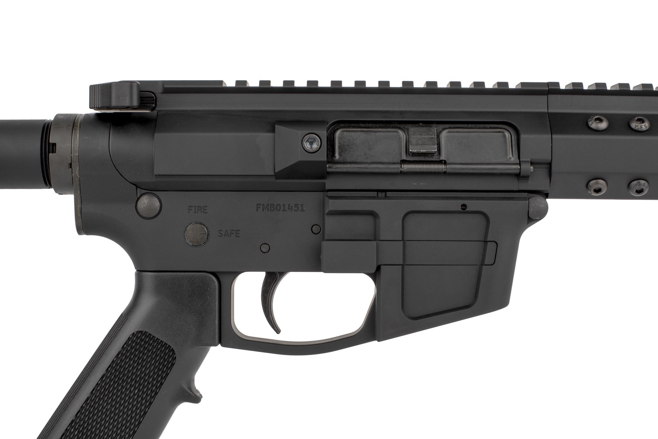 The Foxtrot Mike products AR-9 pistol features a billet machined upper and lower receiver